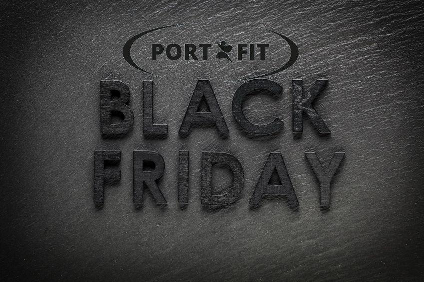 Black Friday text on black slate background